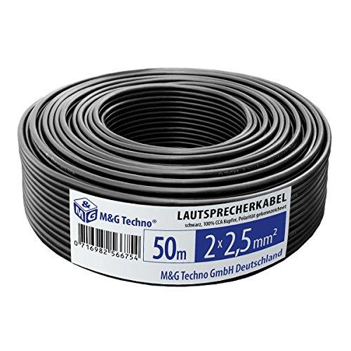 50m Lautsprecherkabel, Farbe schwarz, 2x2,5 mm², Boxenkabel