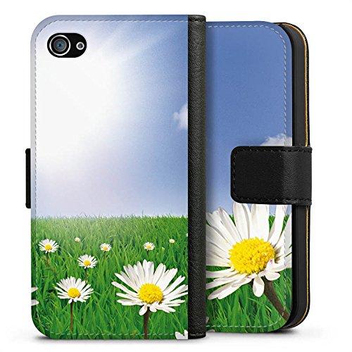 Apple iPhone X Silikon Hülle Case Schutzhülle Gänseblümchen Blumenwiese Sonne Sideflip Tasche schwarz