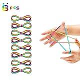 Merisny 8 PCS Corde à Doigts Rainbow Toy, Cradle Corde Jeu de Ficelle, Garçon Fille Jeu de Puzzle, Longueur 165 cm