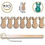 De madera decoración de conejo de Pascua–juego de 7pequeño conejo y 10pcs tacos de madera. Niños del Arte Craft para Pascua