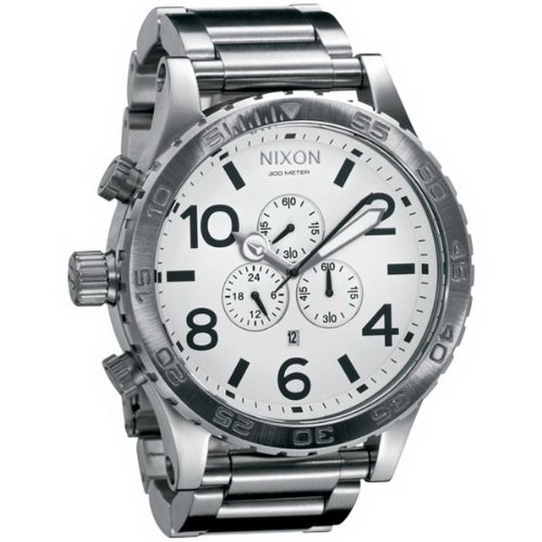 Nixon - 1100 A083 - Montre Homme - Quartz Chronographe - Bracelet Acier Inoxydable Argent