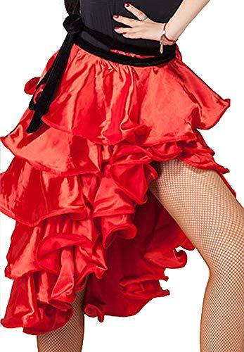 Grouptap Spanisch Flamenco rot Frauen Mädchen Satin Curling Fischschwanz Latin Dance Wrap Midi Rock Farbe Kinder Kleid Tänzer Kostüm (Rot, (Tänzer Kostüm Frauen)