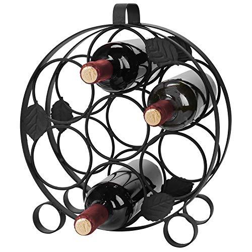 Modernes zinntheken Circular Schwarz Metall Wein Flasche Display Rack-Nimmt bis zu 7Flaschen -
