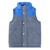 Bienzoe Infant Zip Quilted Sleeveless Warm Cotton-Padded Gilets Blue Size 18M