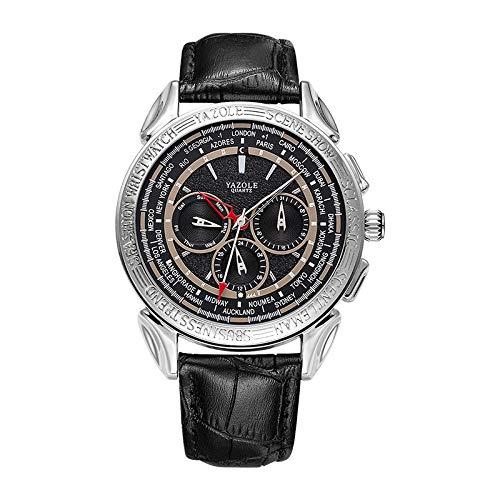 UINGKID Herren Uhr analog Quarz Armbanduhr wasserdicht Uhren Klassische DREI Auge sechs Nadel Ledergürtel Mode Business Quarzuhr