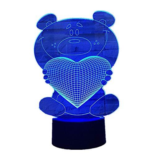 Wangzj 3d bombilla visual llevó la luz de la noche del usb/lámpara de la cabecera Sala de padres innovadora Lampe placa de metacrilato Oso de dibujos animados
