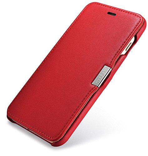 Custodia Mobiskin per Apple iPhone 8 e iPhone 7 (4,7 pollici) / Case con rivestimento esterno in vera pelle / Custodia protettiva con supporto apribile lateralmente / Astuccio per telefono / Cover ult Rosso