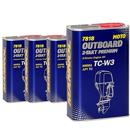 MANNOL 4 x 1L 2-Takt Premium Outboard/API TC NMMA TC-W3 Bootsmotorenöl -