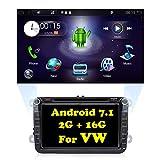 Autoradio Android 7.1 per VW Golf Polo Santana, Dould Din in-dash navigatore GPS con telecamera posteriore, YunTX 2 GB 16 GB Autoradio con schermo multi-touch da 8 pollici