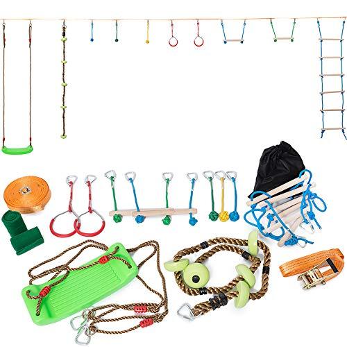 Minetom Slackline 15M Slackline Set Kinder Slackline Anfänger Slackline Set Kinder Schwingen Hindernisse Kurs Set Tragbar Slackline Klettergerüst Satz Slackline-Set