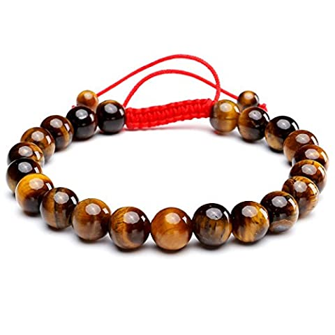 JSDDE Unisex Women's Handmade Macrame Tassels Natural Healing Energy Reiki 8mm Gemstone Crystal Beads Bracelet, 6.5 Inches, Yellow Tiger Eye Stone