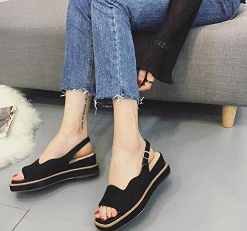 Scrub apre le dita dei piedini di Roma Fascia di mezza piattaforma dei sandali di Roma di Fahion di formato 35-39 Black