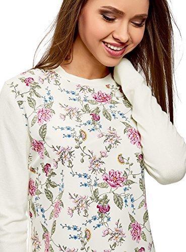 oodji Ultra Damen Kombinierter Pullover mit Rundem Ausschnitt Elfenbein (1241F)