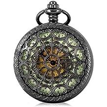 Alienwork Retro orologio da tasca meccanico Scheletro automatico inciso Metallo verde nero WDG006-02
