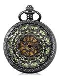 Alienwork Retro mechanische Automatik Taschenuhr Skelett Uhr graviert grün schwarz Metall WDG006-02