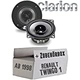Renault Twingo 1 Phase 2 Front - Lautsprecher Boxen Clarion SRG1013R   10cm 100mm Auto Einbauzubehör - Einbauset