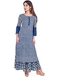 Missprint Women's Hand Block Printed 3/4 Sleeve Anarkali Fabric Cotton Scoop Neck Straight Long Kurta With Flared...