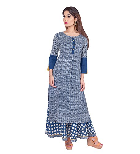 Missprint Women's Hand Block Printed 3/4 Sleeve Anarkali Fabric Cotton Scoop Neck Straight Long Kurta With Flared...