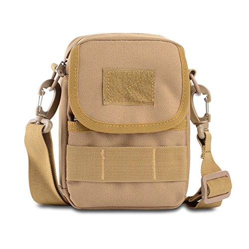 U-TIMES Tactical Messenger Bag, Klein Nylon Schultertasche Molle Tasche für Handys, Herren, Khaki, Small -