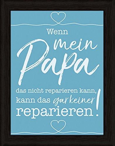 Artland Wand-Bild Poster Kunstdruck mit Rahmen Jule Mein Papa Statement Bilder Sprüche & Texte Digitale Kunst Türkis 47 x 37 x 1,5 cm C7ES