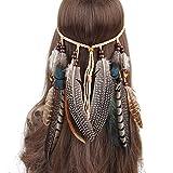 Mujer de Pelo Banda, Bohemien, Pavo Real, Hippie, Plumas, Perlas, Trenzado, Indio, de Cuerda, cabecero, Cosplay, Disfraz, Style 2