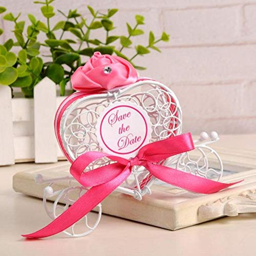 Love Heart Favor Box for Wedding Birthday Party Candy Box Metal Carriage Chocolate Wedding Party Gift,Hot Pink ()