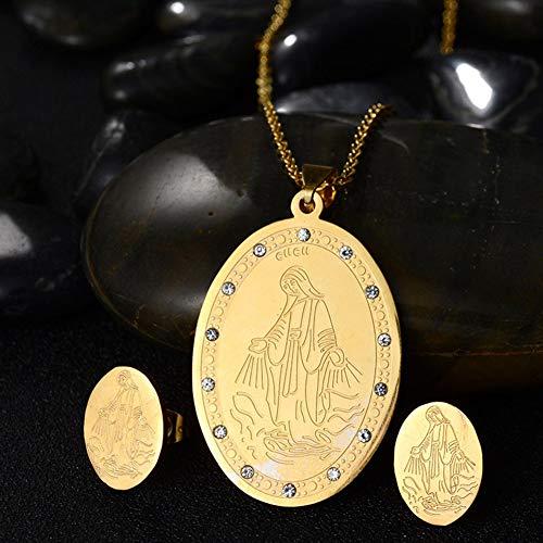 Halskette, Geschenke für Mütter, Frauen, Mädchen, Jungfrau Maria, oval, Edelstahl Halskette, Ohrstecker, Damen-Schmuckset, Geschenk – goldfarben