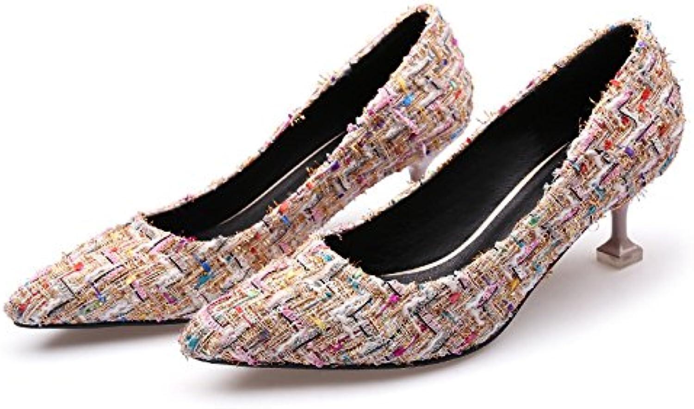 Boca superficial fina punta solo zapatos de tacón alto color así el taladro de agua chica, Beige 40