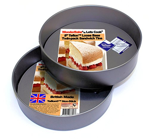 WonderBake Sandwich Cake Tins, Set of 2, Loose Base 8 Inch, Teflon Non Stick by Lets Cook Cookware