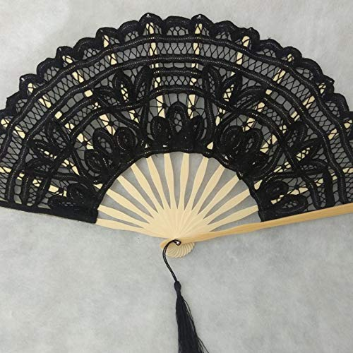 ARDUTE Creative Gift Lace Hand Fan Bamboo Chinese Wedding Favors Silk Vintage Folding Cherry Blossom Fashion Shell Fan Exquisite(Black)