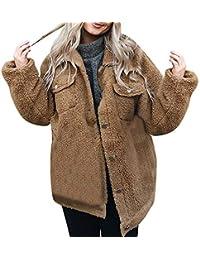 Luckycat Botón de Mujer, Manga Larga, Blusa de Jersey, Frente Abierta, Abrigo