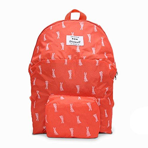 Lalilei pieghevole grande capacità Ultralight Packable zaino impermeabile tessuto carino borsa a tracolla, Grey Red