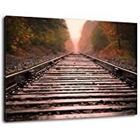 Railway track in the forest Size: 60x40 cm painting on canvas-covered, huge XXL images completely finished and framed with stretcher, Art print on mural with frame, cheaper than painting or picture, no posters or poster