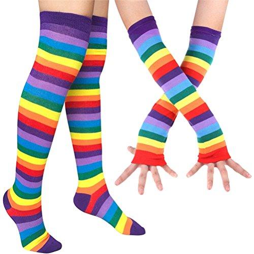 EDOTON Mujeres Raya Del Arco Iris Rodilla Muslo Calcetines Altos Knit Brazo Calentador Guantes sin Dedos Traje de Fiesta Accesorio