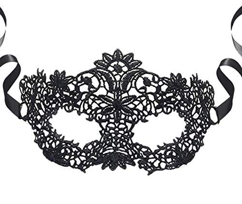 Luxury Black Womens Lace Masquerade Prom Halloween Carnival Mask Ball (Lace Halloween Mask Black)