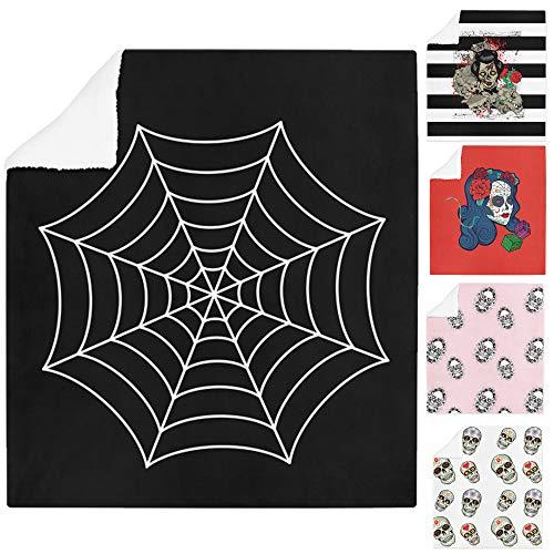 Adam Home 3D Digitaldruck Druck Soft Sherpa Halloween Fleecedecke Bett Wirft Und Couch Vibrierende Farben - Spider Web - Medium - 120 x 150cm