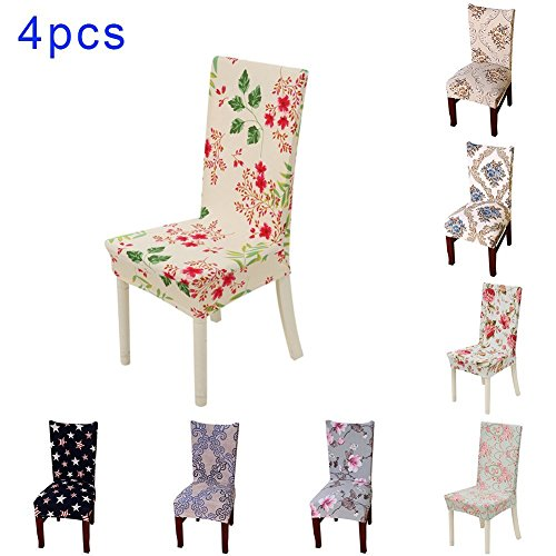 4 x Stretch Removable Washable Short Dining Chair Protector Cover by SindeRay (E)