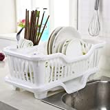 #9: FastUnbox 3 IN 1 Kitchen Sink Dish Drainer Drying Rack Washing Holder large plastic basket Organizer with tray (High Quality Plastic)