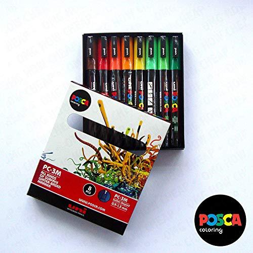 POSCA PC- 3 m, Farben, Spektrum-Set, 8 Stück (A], In Geschenkbox