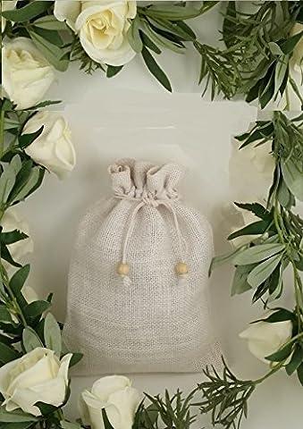 Small Plain Drawstring Jute Bags (Pack of 12) in WHITE Hessian Bag Code #05