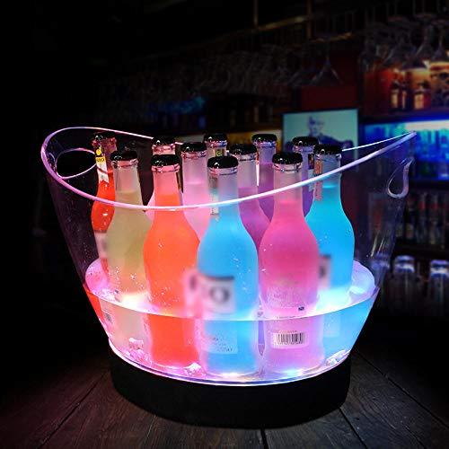 LED leuchtende Champagner-Bar, die großes Acrylbierfaß, Wein-Eimer-Champagner-Eimer, Weinkühler, isolierten Eiskübel lädt, der für Parteien, Eis-Eimer-Champagner u. Bier-Kühler, buntes Licht ideal ist -