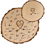Geschenke 24: Baumscheibe – Gästebuch Alternative zur Hochzeit (18-20 cm Durchmesser): mit Initialen und Datum personalisiert
