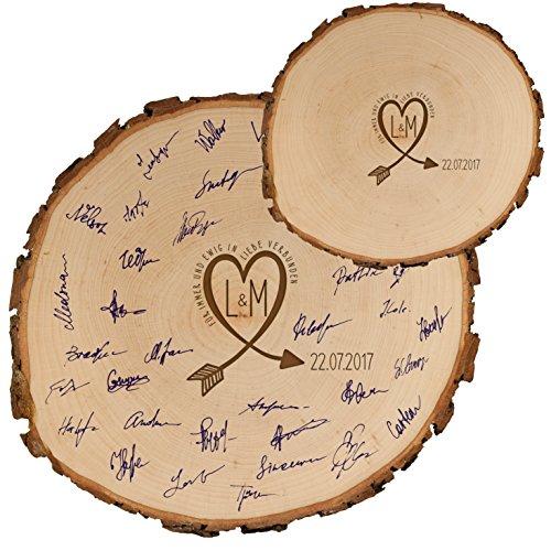 gaestebuch holzscheiben Geschenke 24 Baumscheibe – Gästebuch Alternative zur Hochzeit (18-20 cm Durchmesser): mit Initialen und Datum personalisiert
