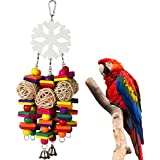PAMAGOO Snowflake Large Parrot Chew Toy For Bird Macaw African Greys Eclectus Cockatoo Parakeet Cockatiel Conure Lovebird Cage Wood Bird Chewing Toys With Bells