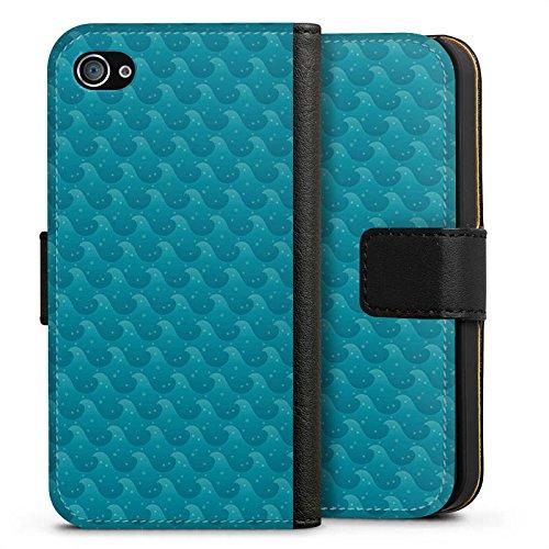 Apple iPhone X Silikon Hülle Case Schutzhülle Wellen Meer Urlaub Sideflip Tasche schwarz