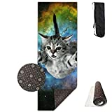 Roue Yoga Mat Non Slip Cats Flying Into Space Printed 24 X 71 Inches Premium for Fitness Exercise Pilates with Carrying Strap