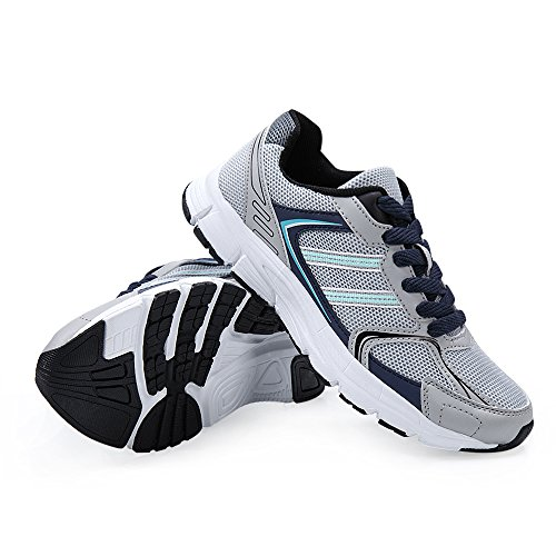 Santiro Damen Atmungsaktiv Laufschuhe Leichte und schicke Mesh-Upper Sneaker Freizeit Turnschuhe Sport-Schuhe. Grau
