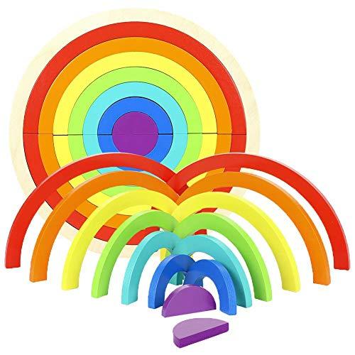 BeesClover 14 Bloques de construcción de Madera arcoíris, Juego de apilamiento, Juguete de Aprendizaje de geometría, Juguetes educativos, Rompecabezas para niños pequeños Regalo