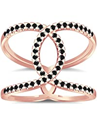 Silvernshine Halo Twist Black Cubic Zirconia Engagement Ring 14k Rose Gold Plated Bridal Ring
