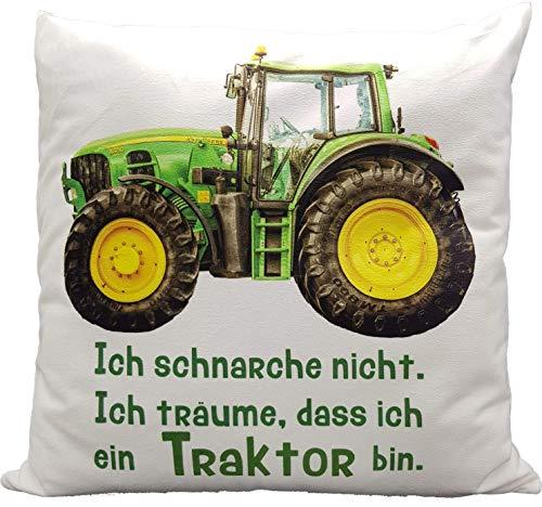 Anti-Schnarch Kissen Traktor Trecker Spruch Ich schnarche nicht Geschenk Geburtstag Landwirt Bauer (Kuschelkissen flauschig)